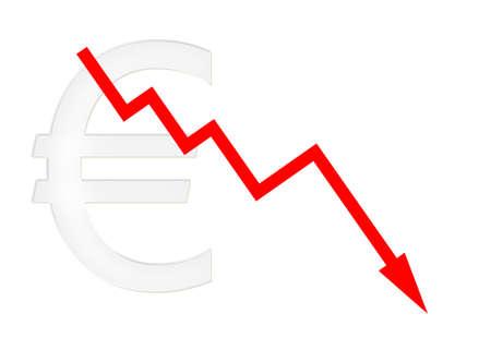 downwards: red diagram downwards with euro symbol