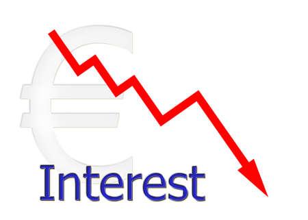 downwards: red diagram downwards interest with euro symbol