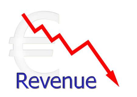 revenue: red diagram downwards revenue with euro symbol Stock Photo