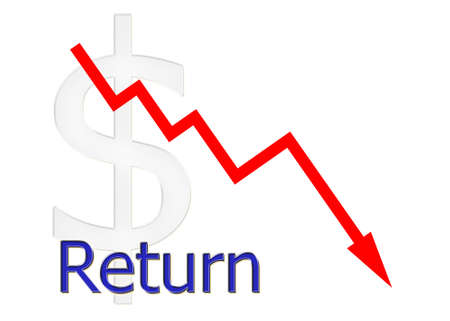 downwards: red diagram downwards return with dollar symbol Stock Photo