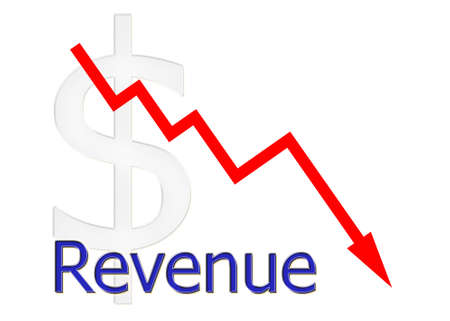 downwards: red diagram downwards revenue with dollar symbol