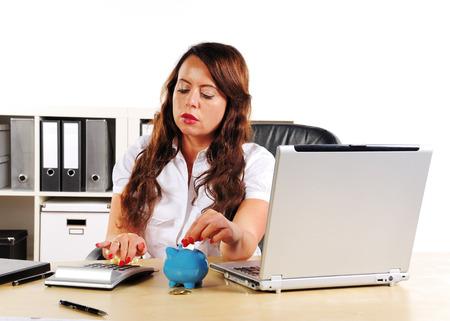 merchandiser: woman to put money in a piggy bank