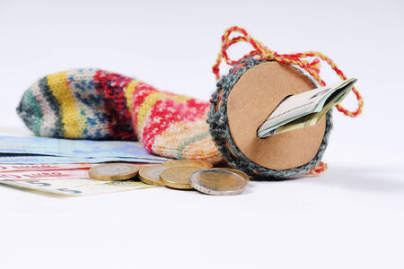 canny: Stocking for saving with Euro bills and Euro Coins