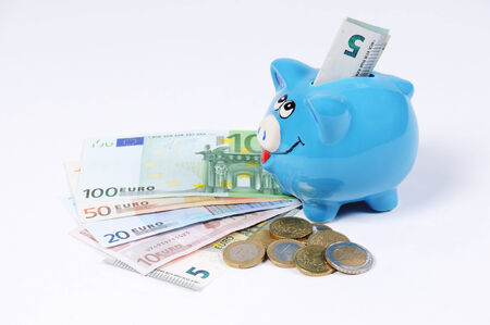canny: Piggy bank with Euro bills and Euro Coins