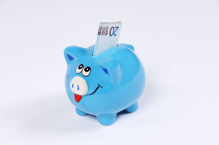canny: blue Piggy bank with 20 Euro bill Stock Photo