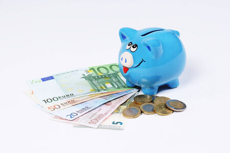 canny: blue Piggy bank with Euro bills and Euro Coins