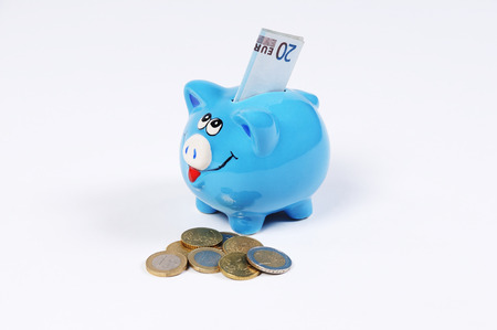 canny: blue Piggy bank with 20 Euro bill and Euro Coins