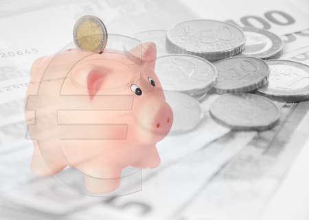 finacial: piggy bank with euro symbol and background