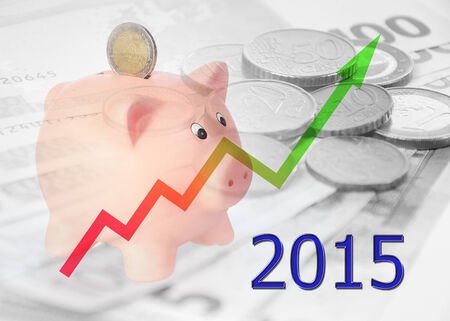 finacial: piggy bank with diagram 2015 Stock Photo