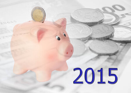 finacial: piggy bank with 2015 and euro background