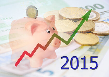 piggy bank with diagram 2015 Stock Photo