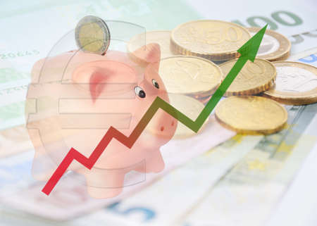 piggy bank 2015 with diagram and euro background Stock Photo