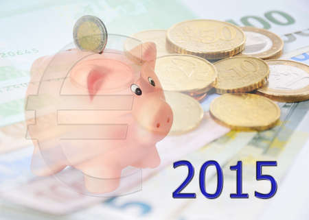 finacial: piggy bank with 2015 and euro symbol Stock Photo