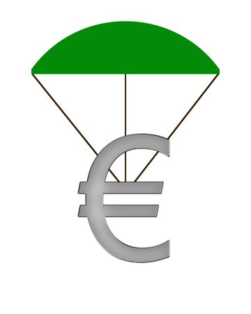 crunch: Euro Symbol hanging on a parachute