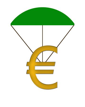 crunches: Euro Symbol hanging on a parachute