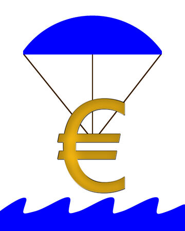 crunches: Euro Symbol hanging on a parachute and falling into water