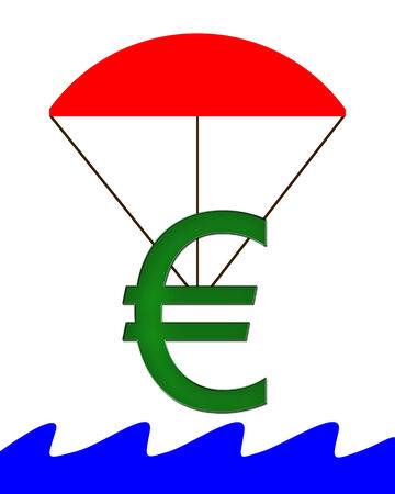 Euro Symbol hanging on a parachute and falling into water
