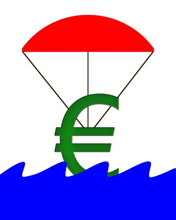 crunch: Euro Symbol hanging on a parachute and falling into water