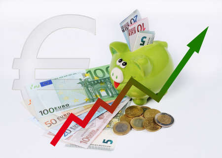 euro coins: piggy bank with graphic and euro coins and bill