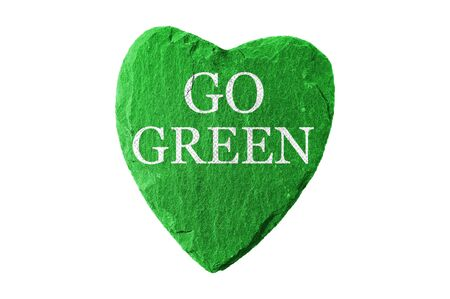 enduring: green heart with go green writing