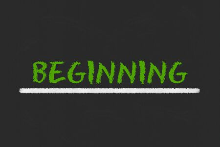 beginning: beginning green script and white underline on a black blackboard