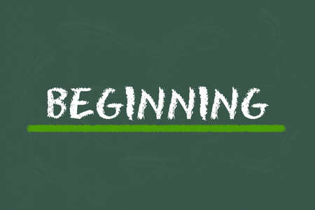 beginning: beginning white script and green underline on a green blackboard