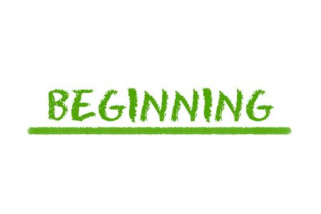 beginning: beginning green script and green underline on a white background Stock Photo