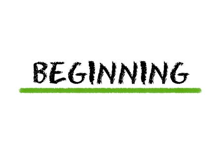 beginning: beginning black script and green underline on a white background