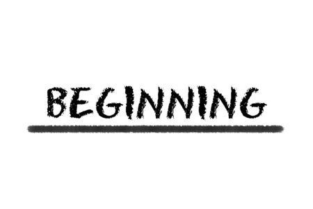 beginning: beginning black script an black underline on a white background Stock Photo