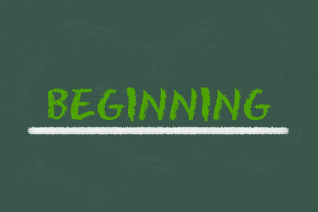 beginning: beginning green script an white underline on a green blackboard