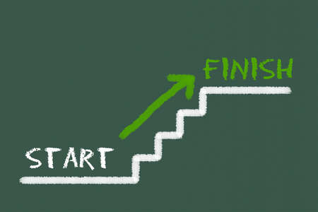 legislating: Stairs with start, finish and a green arrow on a green blackboard