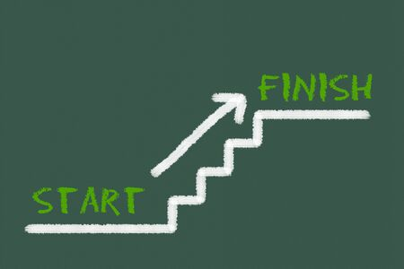 legislating: Stairs with start, finish and a arrow on a green blackboard