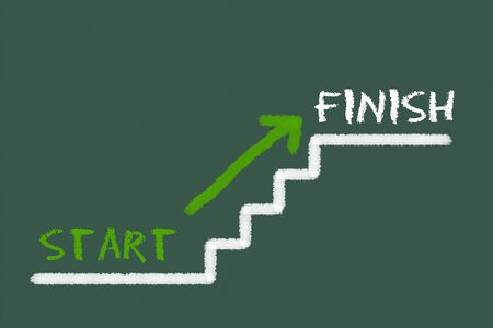 starting a business: Stairs with start, finish and a green arrow on a green blackboard