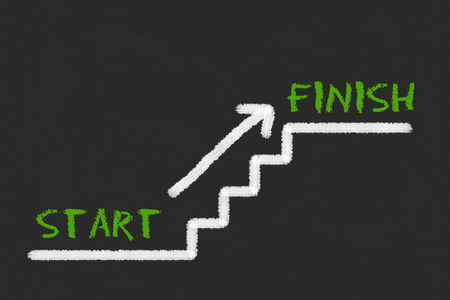 legislating: Stairs with start, finish and a arrow on a balck blackboard