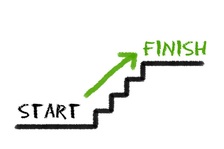 legislating: Stairs with start, finish and a green arrow on a white background