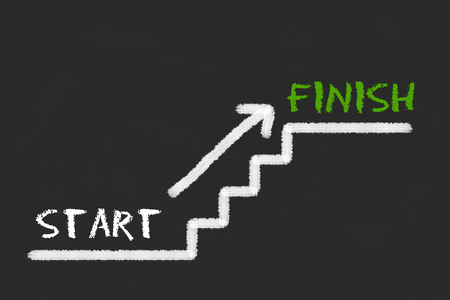 legislating: Stairs with start, finish and a arrow on a black blackboard