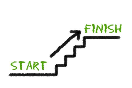 intention: Stairs with start, finish and a arrow on a white background