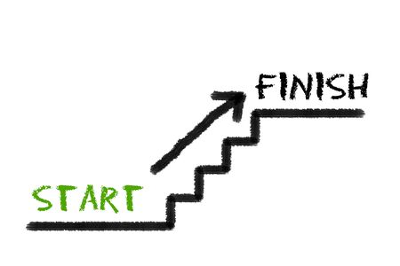 legislating: Stairs with start, finish and a arrow on white background