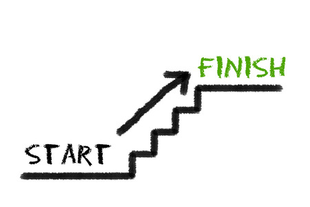 legislating: Stairs with start, finish and a arrow on a white background