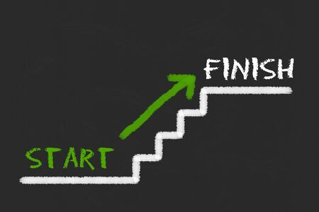 legislating: Stairs with start, finish and a green arrow on a black blackboard