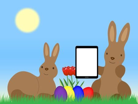 Easter Bunnys with Tablet Computer Easter Eggs and tulip on grassland