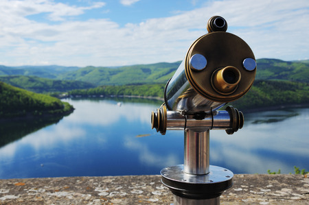 Edersee View from Castle Waldeck with Telescope 스톡 콘텐츠