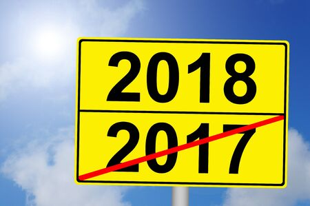 Turn of the year 2017 to 2018 with sky background