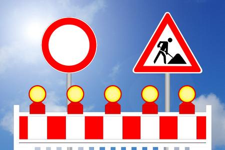 Forbidden Way Construction Area Barrier with Sign Reklamní fotografie