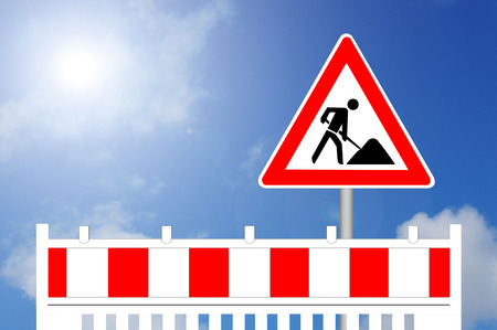 Construction Barrier with Sign
