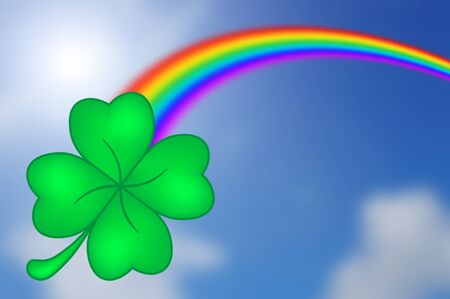 rainbow with Four-Leaf Clover and sky background Stock Photo