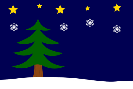 Christmas Background with fir tree, Stars and Snowflakes