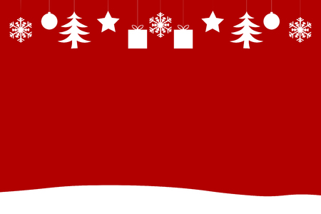 Christmas Background with Ornaments and Snow Stock Photo
