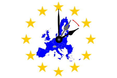 Europe Clock Change Map of Europe with Dial Banco de Imagens