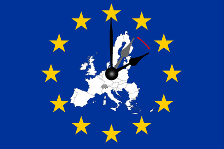 Europe Clock Change European Flag with Map and Dial
